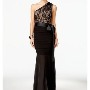 Betsy and Adam Long Lace One Shoulder Gown